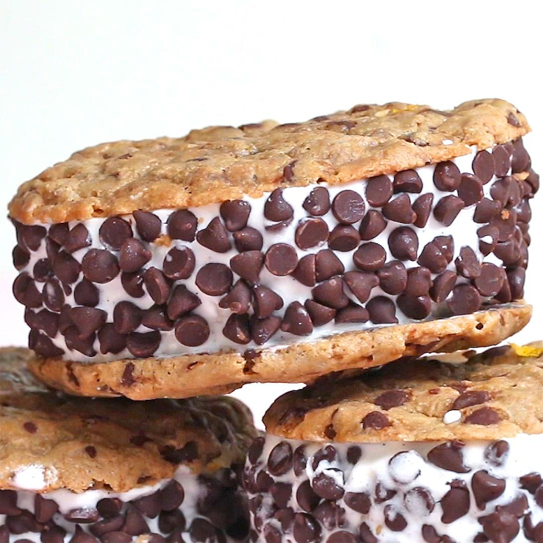 Vegan Chocolate Chip Cookie Ice Cream Sandwiches Recipe By