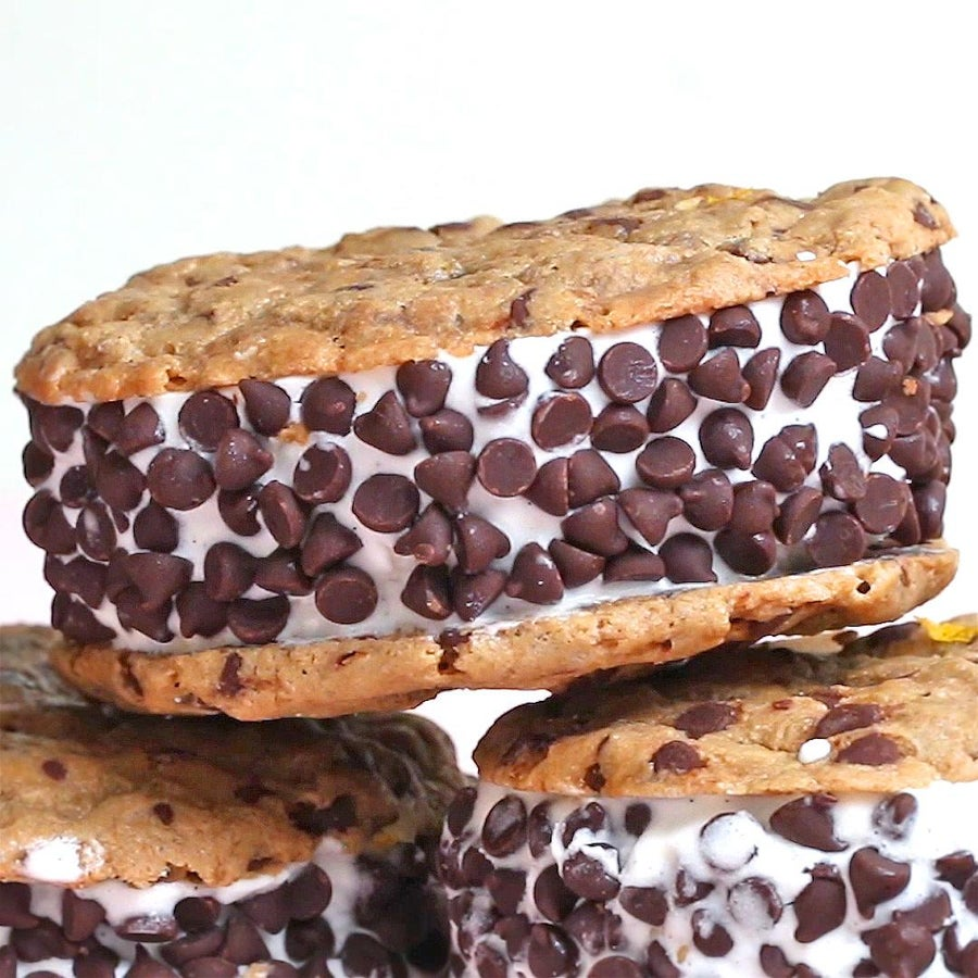 Vegan Chocolate Chip Cookie Ice Cream Sandwiches