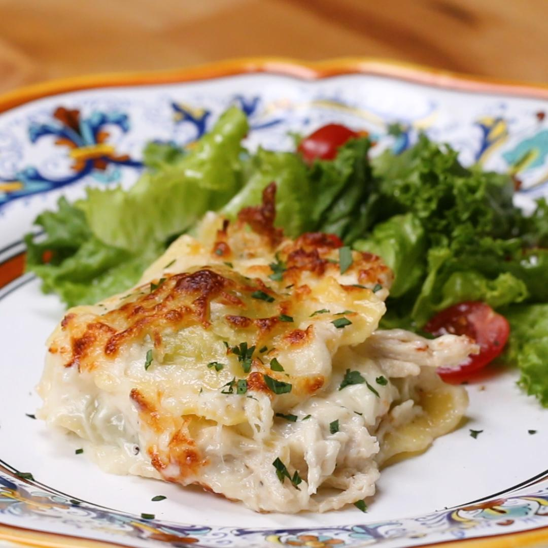 Ham Fettuccine Bake Recipe: Cheesy Chicken Alfredo Pasta Bake Recipe By Tasty