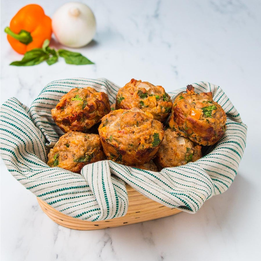 Turkey Sausage And Pepper Muffins