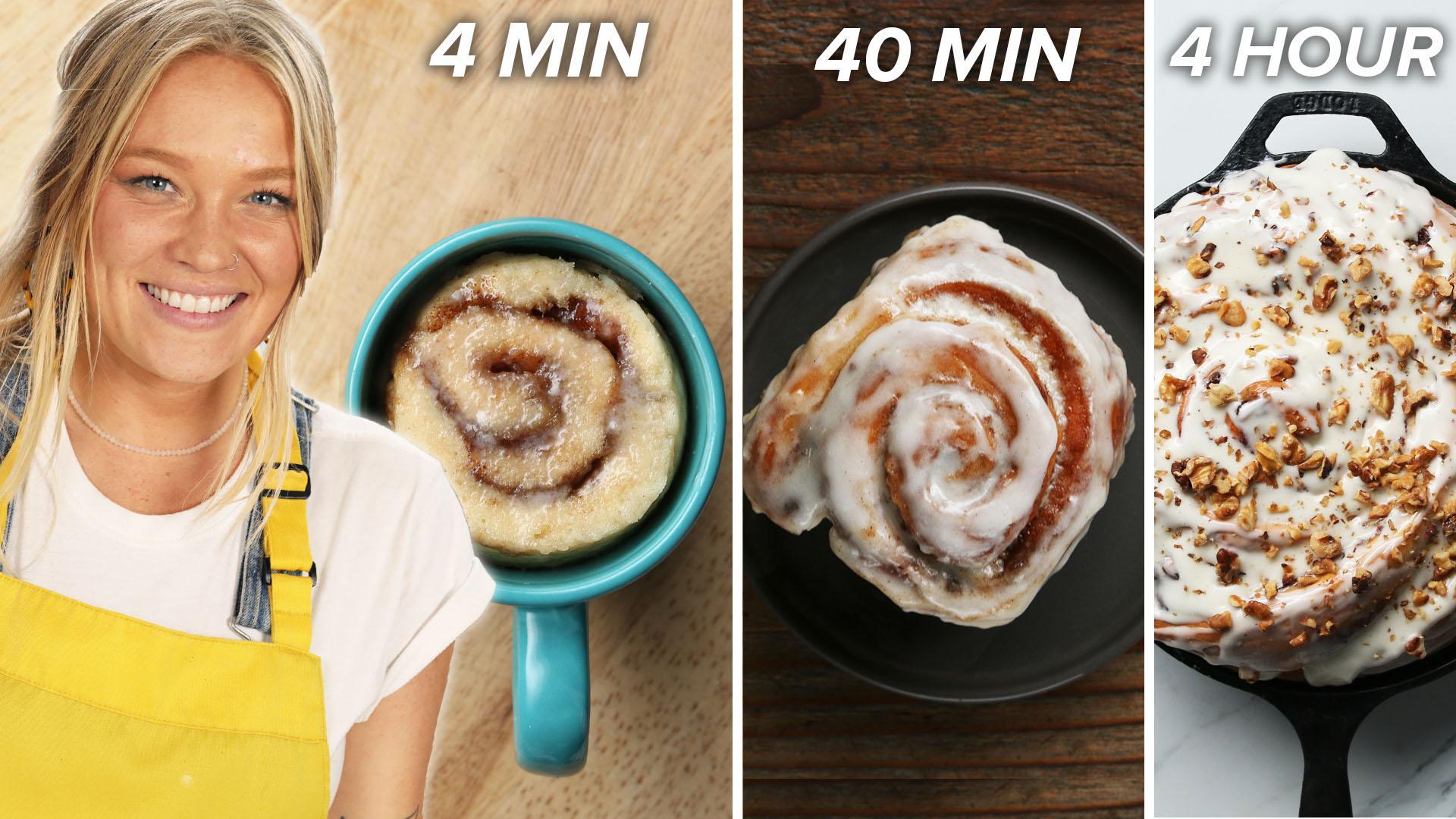 4 Min Vs 40 Min Vs 4 Hour Cinnamon Rolls Recipes
