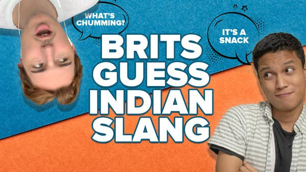 Video title - Brits react to Indian Slang A caucasian man and an Indian man talking.