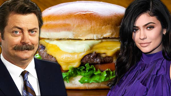 Nick Offerman and Kylie Jenner in front of a delicious and meaty burger
