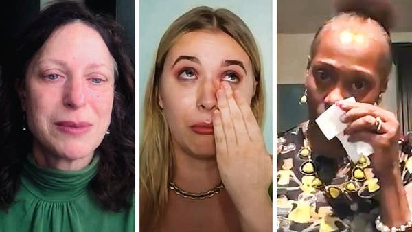 Three women side by side having an emotional conversation on loss