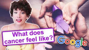 Woman with cancer awareness ribbon and Google logo