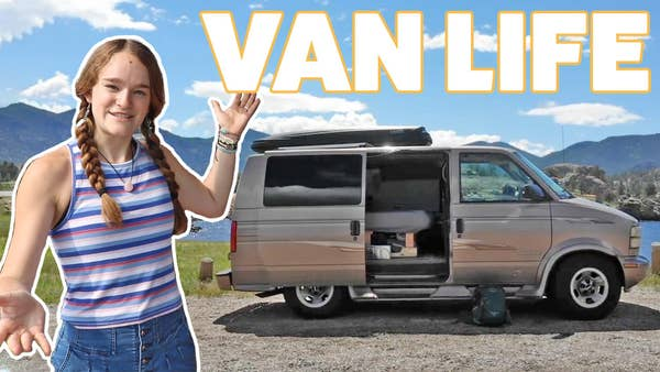 Van Life With Girl Gesturing To Van