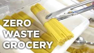 The words zero waste grocery over image of package-free pasta