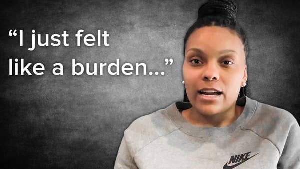 """African American woman with quote """"I just felt like a burden..."""""""