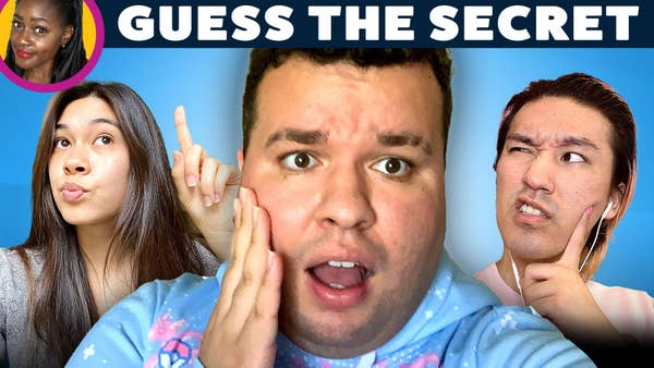 Two people try to guess a third person's secret. The third person looks shocked.