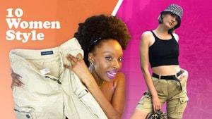 Essense holding up the cargo shorts. Lindsay posing with the cargo shorts styled.