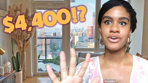 Woman in front of an apartment window overlooking New York City with text that says $4,400!?