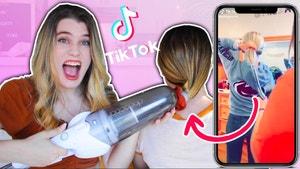 Shows the recreation of the vacuum ponytail tiktok