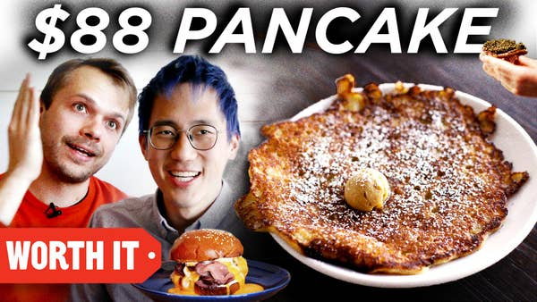 Adam and Steven next to a picture of a giant pancake, a small picture of a roast beef sandwich. Text says $88 Pancake