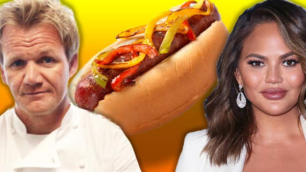Gordon Ramsay and Chrissy Teigen in front of a delicious hot dog