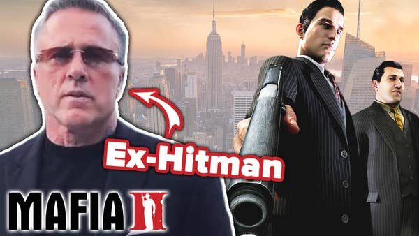 Man with sunglasses on stands next to two video game characters aiming a gun.