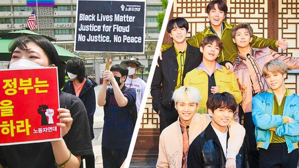 "A picture of the K-pop band ""BTS"" next to a picture of people protesting for Black Lives Matter"