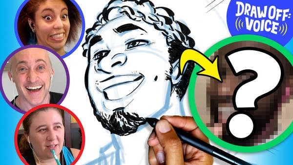 Three artist's faces are in circles and there is one more circle with a man's face that is blurred out with a question mark on it.  In the middle of the is sketch drawing of the man.