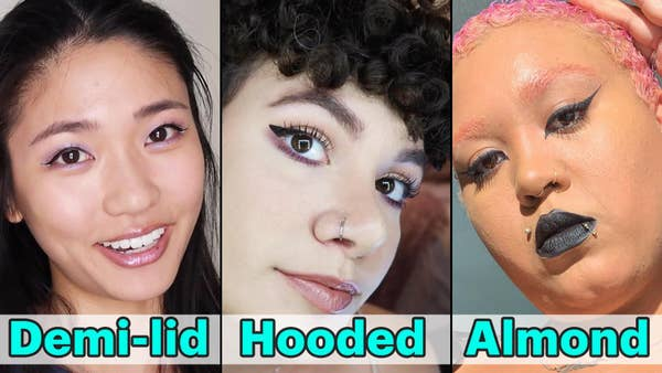 three women with different eyeshapes, demi-lid, hooded, and almond, all posing close to the camera with their eyeliner winged perfectly