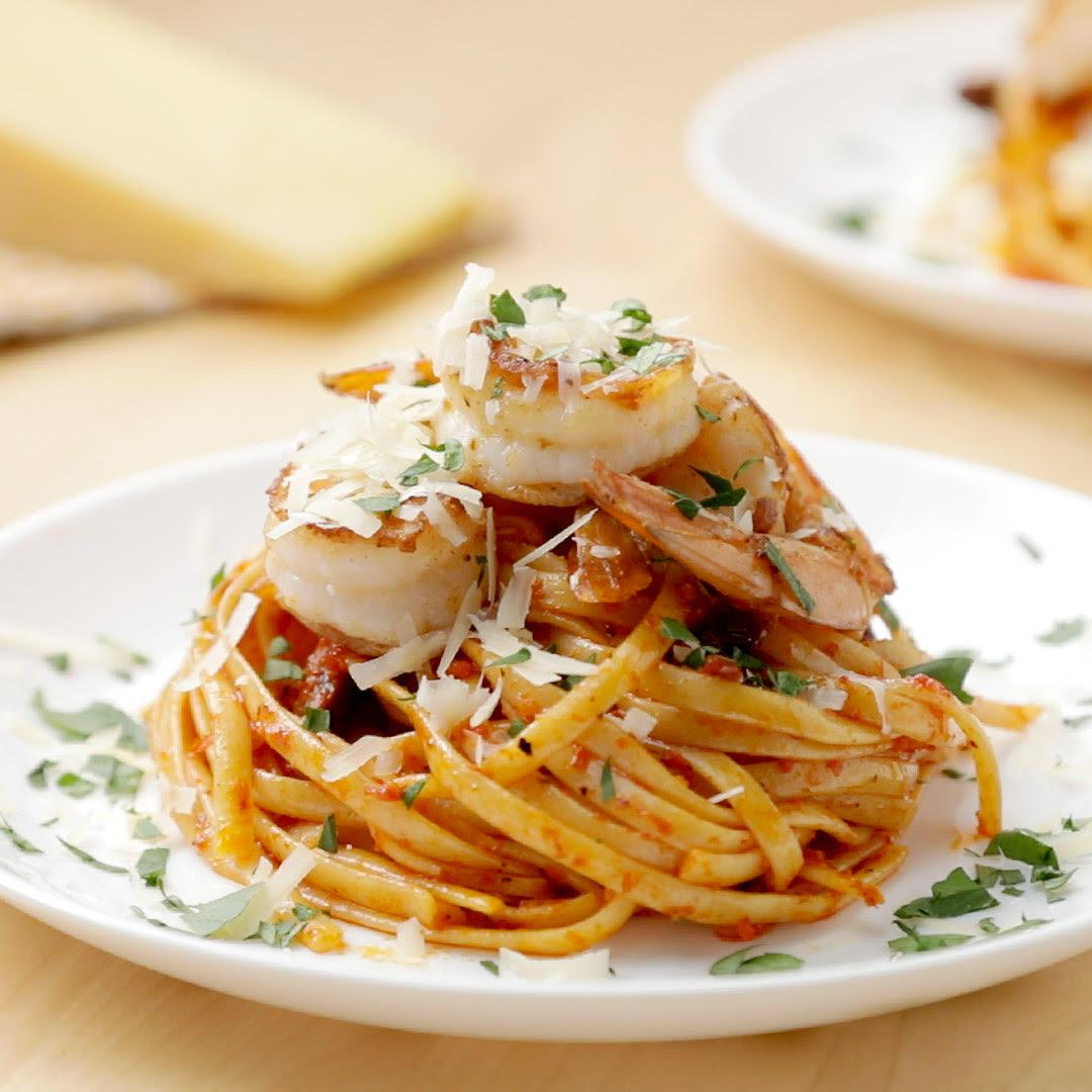 Mezzetta Roasted Red Bell Pepper Linguine With Shrimp Recipe by Tasty