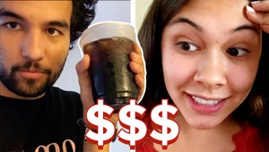 A man holds up a cup of iced coffee and the woman in another picture looks stressed. There are three dollars  signs between them.