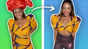 On the left, Vivian wears a patterned yellow traditional Nigerian outfit. On the right, she wears the same outfit but styled into a crop top with high waisted metallic leggings.