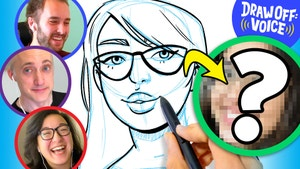 Three artist's faces are in circles and there is one more circle with a woman's face that is blurred out with a question mark on it.  In the middle of the is sketch drawing of the unknown woman.