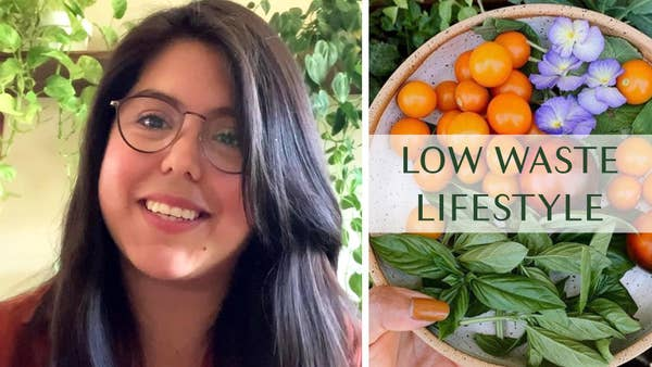 CeroWasteCindy smiles next to a picture of bowl full of colorful fruits and plants.