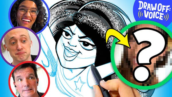 On the left is one big circle with a blurred out face with a question mark over it. The three artist's faces are in circles around a sketch of their mystery guest.