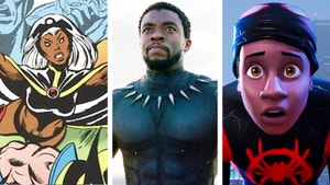 Pictures of comic book heroes Storm, Black Paner and Miles Morales as Spiderman.
