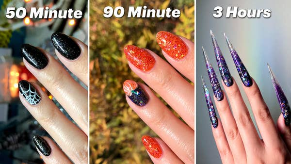 Text that says 50 minute with painted black nails, text that says 90 minute with orange nails and one nail painted as a pumpkin, text that says 3 hours with long acrylic glitter nails