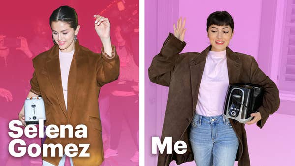 On the left a picture of Selena Gomez against a red background. She is holding a toaster and wearing a brown blazer. On the right, a young woman wears her own version of the same outfit against a pink background.