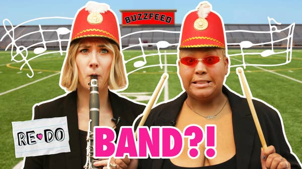 Lindsay and Jazz look scared holding instruments in front of a football field with marching band uniforms on.