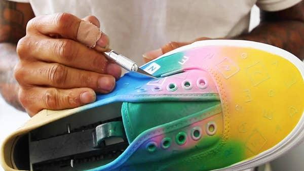 Main paints on a shoe