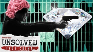 A silhouette of man in a pink wig points a gun over a picture of huge diamond and in the background is silhouette of men behind jail bars.