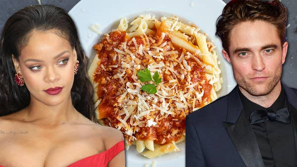 Rihanna and Robert Pattinson in front of a delicious bowl of pasta