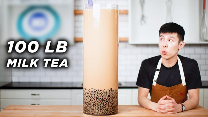Alvin looks at a giant boba milk on his right with text that states