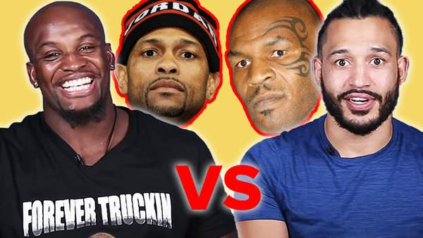Two professional boxers in front of Mike Tyson and Roy Jones Jr.