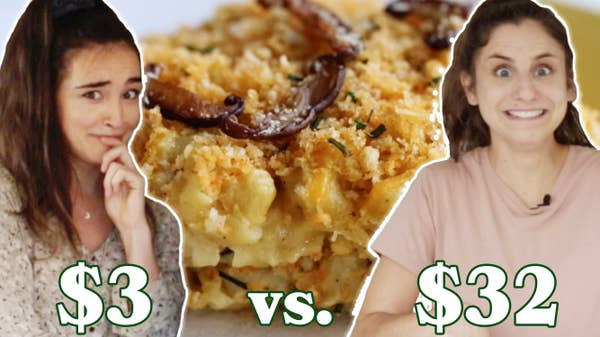 Merle at $3 and Rachel at $35 in front of Vegan Mac and Cheese.