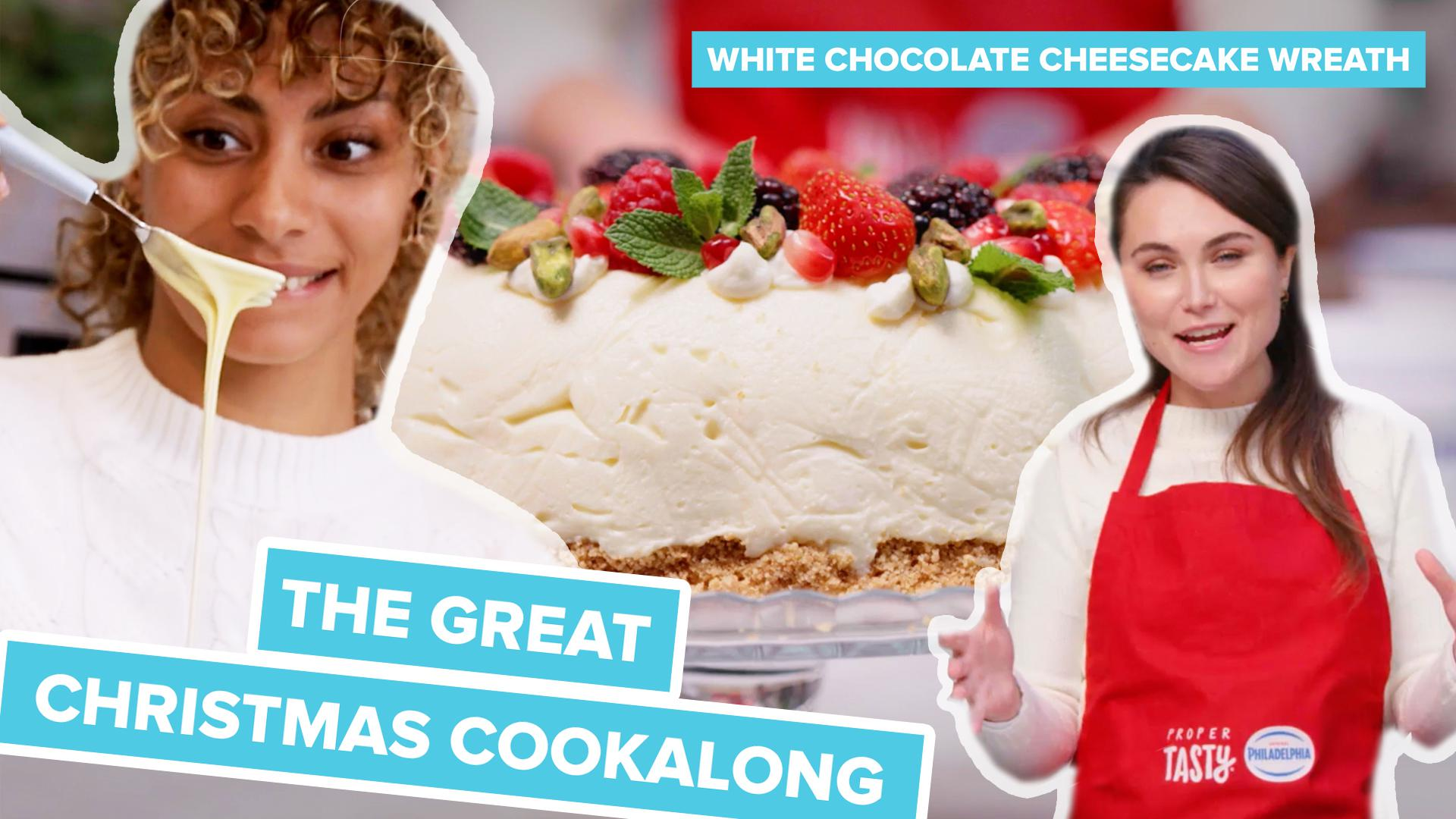 Proper Tasty The Great Christmas Cook Along Philadelphia White Chocolate Cheesecake Wreath