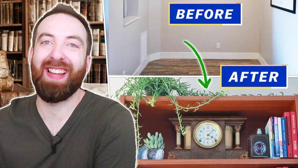 Mike smiling next to a before and after juxtaposition of his new reading nook. Before shows an empty room, and after shows a closeup of a bookshelf with a plant, books, and antique mantle clock.