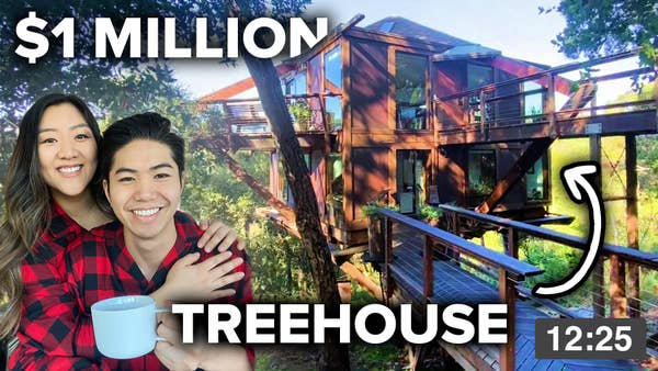 Jasmine and George at a Treehouse in Big Bear.