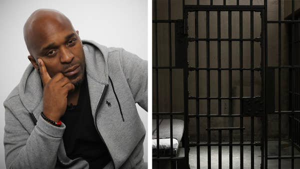 A split screen of a man looking thoughtful and a prison cell door