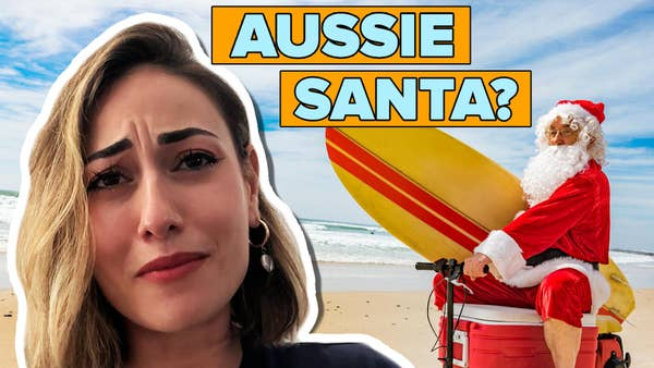Woman looking confused, next to a picture of santa holding a surfboard, riding on a motorised esky. Writing at the top that says Aussie Santa.