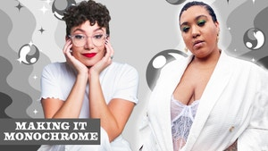 Megan and Jazzymyne pose in all white outfits.