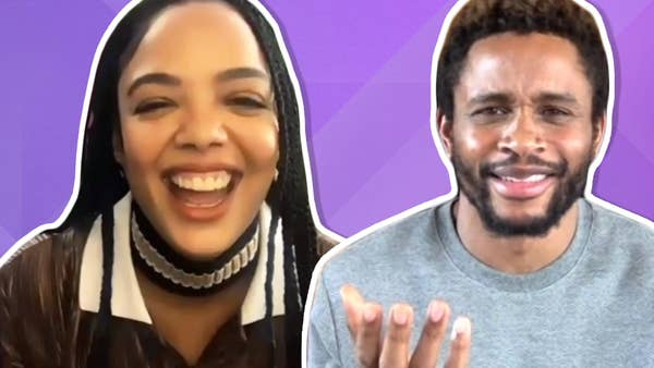 Side-by-side of Tessa Thompson laughing and Nnamdi Asomugha with a confused expression on his face