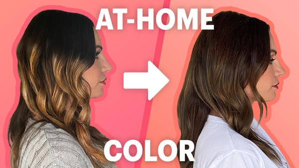 Chloe before and after hair color.