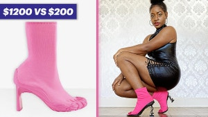 On the left is an all pink $1200 Balenciaga shoe. On the right Vivian is wearing the shoe she recreated for $200