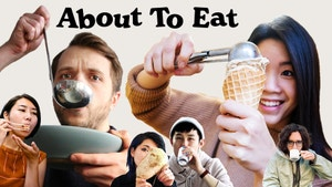 A collage of people (Andrew Ilnyckyj, Inga Lam, and friends) all about to eat.