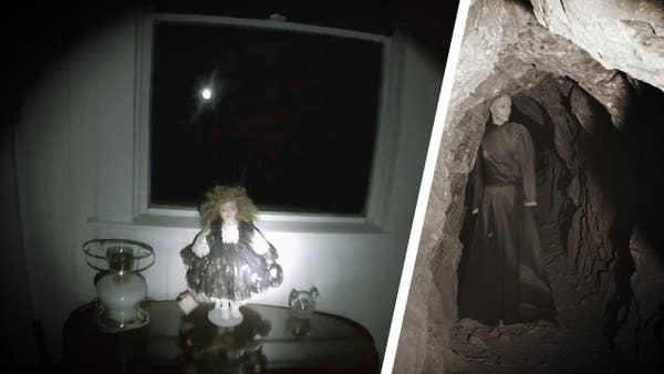 Spooky doll in a room and woman in black in a cave.