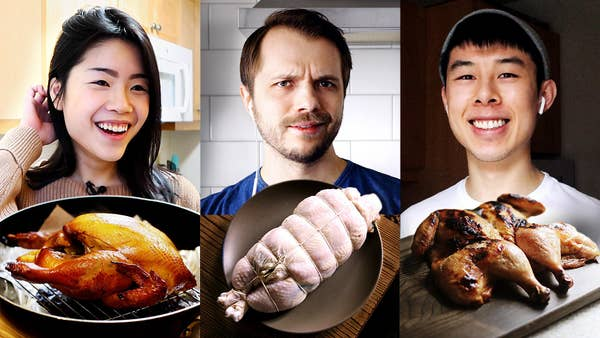 Inga, Andrew, and Alvin all with different whole chicken dishes in front of them.